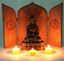 Folding Sitara Altar with Buddha Statue and candles (statue and candles not included)