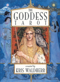 """The Goddess Tarot uses goddess stories and imagery to update traditional tarot symbolism, addressing women's contemporary needs. Described on Aeclectic Tarot as """"possibly the most beautiful tarot deck ever to be created"""" Goddess Tarot is ornately illustrated with evocative details that bring tarot to life in new ways. Each card in the Major Arcana depicts the story of a different goddess. Each suit in the Minor Arcana corresponds to one of the four elements -- earth, air, water, and fire -- as well as to a particular goddess. The suit of cups is associated with Venus, the Roman goddess of love. The suit of swords relates to Isis, the Egyptian goddess of magic and redemption. Pentacles portray Lakshmi, the Hindu goddess of prosperity, and the suit of staves depict Freyja, the Norse goddess of creativity. Artist and author Kris Waldherr also provides a beautifully written instruction booklet to help you get the most out of The Goddess Tarot."""