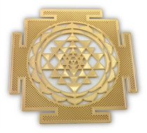 Gold Plated Shree Yantra Healing Grid - Framed