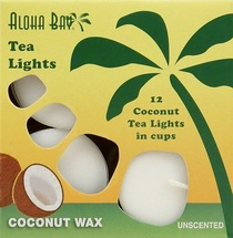 Tea Lights Unscented  Coconut Wax  12 pack - White