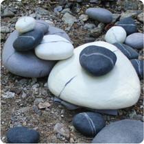Zen Stone Pebble, felted wool, white, triangle, sm
