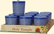 "The term votive means ""dedicated or performed in fulfillment of a vow."" Votive candles are often lit for positive intentions. To ""light a candle for someone"" shows one's intention to say a prayer for another person, and the candle symbolizes that prayer. Votives are also lit for inspiration.  Each votive is a scented, 2 ounce, coconut wax blend candle with an estimated burn time of 12 hours. Essential Oils marked with an asterisk (*) are certified organic. Always burn votives in a votive glass."