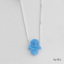 "Light Blue Opal Hamsa on 16"" Sterling Chain"