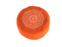 Zafu Meditation Cushion Orange Lotus Flower