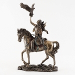 Statue - Navajo Indian on Horse with Eagle