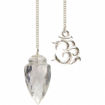 Gemstone Pendulum with Om - Clear Quartz