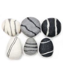 Zen Stone Pillow - Medium Round - Felted Wool (Charcoal)