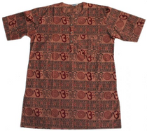 Men's Kurta - Short Sleeves - Om Design Chocolate