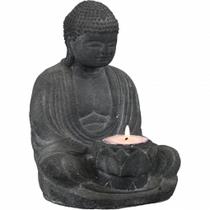 Buddha Statue Tea Light Holder (Charcoal)