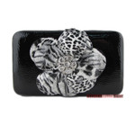 BLACK LEOPARD FLOWER DISTRESSED LOOK FLAT THICK WALLET FW2-0751BLK
