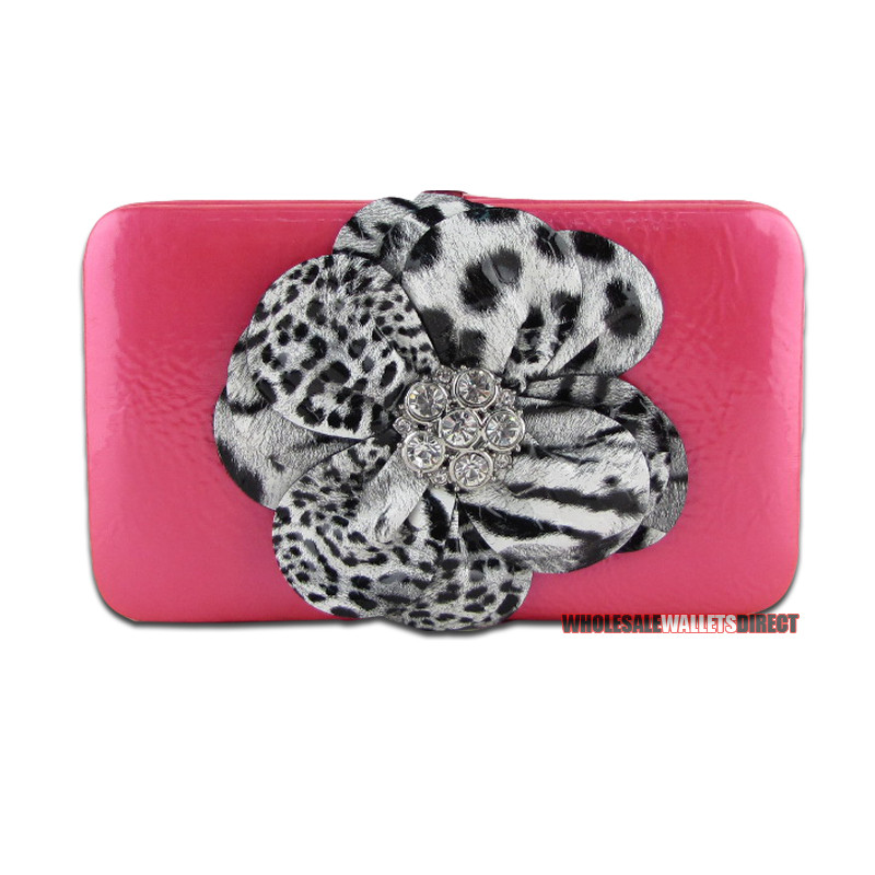 Red /& Leopard Rhinestone Flower Clutch Opera Wallet