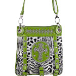 GREEN LEOPARD CROSS MESSENGER BAG MB1-MZ001AGRN