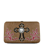 TAN WESTERN STITCH CROSS LOOK FLAT THICK WALLET FW2-0434TAN