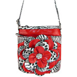 RED LEOPARD FLOWER DISTRESSED LOOK MESSENGER BAG MB1-YJ2016-2RED