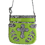 GREEN STUDDED LEOPARD CROSS LOOK MESSENGER BAG MB1-YJ2011-7GRN