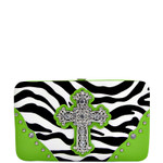 GREEN ZEBRA PRINT CROSS FLAT THICK WALLET FW2-0431GRN