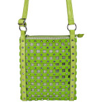 GREEN STUDDED RHINESTONE MESH LOOK MESSENGER BAG MB1-886GRN