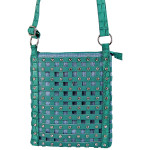 TURQUOISE STUDDED RHINESTONE MESH LOOK MESSENGER BAG MB1-886TRQ