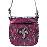 PURPLE STUDDED RHINESTONE LEOPARD CROSS LOOK MESSENGER BAG MB1-C-881PPL