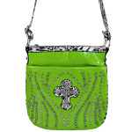 GREEN STUDDED RHINESTONE LEOPARD CROSS LOOK MESSENGER BAG MB1-C-881GRN
