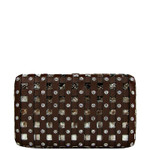 BROWN WEAVE RHINESTONE SNAKE SKIN LOOK FLAT THICK WALLET FW2-2504BRN