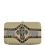 BEIGE STUDDED RHINESTONE CROSS LOOK THICK FLAT WALLET FW2-0409BEI