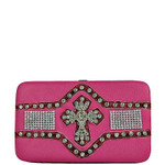 HOT PINK STUDDED RHINESTONE CROSS LOOK THICK FLAT WALLET FW2-0409HPK