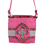 HOT PINK STUDDED RHINESTONE CROSS LOOK MESSENGER BAG MB1-HL10700HPK
