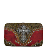 RED TOOLED CROSS LOOK FLAT THICK WALLET FW2-0410RED