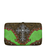 GREEN TOOLED CROSS LOOK FLAT THICK WALLET FW2-0410GRN