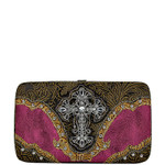 HOT PINK TOOLED CROSS LOOK FLAT THICK WALLET FW2-0410HPK