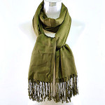 OLIVE SOLID LONG FRINGE PASHMINA FEEL NECK SCARF NS1-0112OLV