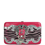 HOT PINK ZEBRA RHINESTONE BUCKLE LOOK FLAT THICK WALLET FW2-1207HPK