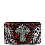 RED LEOPARD RHINESTONE CROSS LOOK FLAT THICK WALLET FW2-0412RED