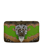GREEN TOOLED RHINESTONE BUCKLE LOOK FLAT THICK WALLET FW2-1222GRN