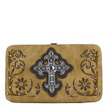 TAN STITCHED RHINESTONE CROSS LOOK FLAT THICK WALLET FW2-0417TAN