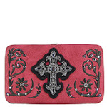 HOT PINK STITCHED RHINESTONE CROSS LOOK FLAT THICK WALLET FW2-0417HPK