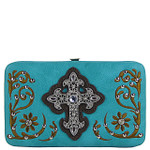 TURQUOISE STITCHED RHINESTONE CROSS LOOK FLAT THICK WALLET FW2-0417TRQ