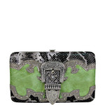 GREEN RHINESTONE BUCKLE LOOK FLAT THICK WALLET FW2-1221GRN