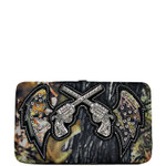 BROWN MOSSY CAMO RHINESTONE PISTOL LOOK FLAT THICK WALLET FW2-1213BRN