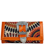 ORANGE RETRO RHINESTONE BUCKLE LOOK FLAT THICK WALLET CB1-1210ORG