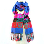 BLUE MULTI PRINT LONG FRINGE PASHMINA NECK SCARF NS1-0125BLU