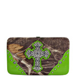 GREEN CROSS MOSSY FELT CAMO LOOK FLAT THICK WALLET FW2-0480GRN