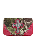 HOT PINK CROSS MOSSY FELT CAMO LOOK FLAT THICK WALLET FW2-0480HPK