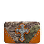 ORANGE CROSS MOSSY FELT CAMO LOOK FLAT THICK WALLET FW2-0480ORG