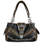 BLACK TOOLED RHINESTONE BUCKLE LOOK WESTERN SHOULDER HANDBAG HB1-C1009BLK