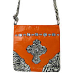ORANGE PATENT LEOPARD RHINESTONE CROSS LOOK MESSENGER BAG MB1-C946ORG
