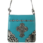 TURQUOISE PATENT LEOPARD RHINESTONE CROSS LOOK MESSENGER BAG MB1-C946TRQ