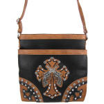 BLACK WESTERN RHINESTONE PISTOLS LOOK MESSENGER BAG MB1-HL12560BLK