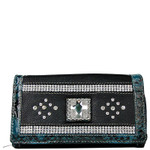 TURQUOISE STUDDED RHINESTONE CROSS LOOK CHECKBOOK WALLET CB1-0471TRQ